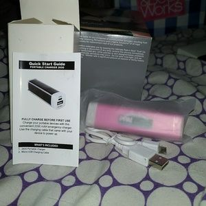 Pink portable charger Brand New